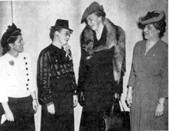 In 1946 Soroptimists held a reception for delegates to UN conferences, which included Eleanor Roosevelt. Photo courtesy of Soroptimist Archives.