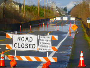 35th Avenue SE at Penny Creek closed in 2015. Photo credit: Richard Van Winkle.