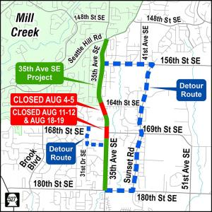 Motorists take note! Snohomish County's 35th Avenue SE corridor improvement project requires three weekend full-road closures in August. Each closure will begin at 7:00 am on the Saturday, and end at 7:00 pm on Sunday.
