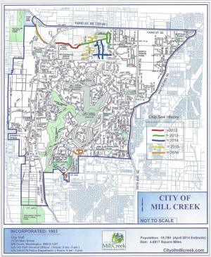 Map showing chip seal locations in Mill Creek. Image courtesy of the City of Mill Creek.