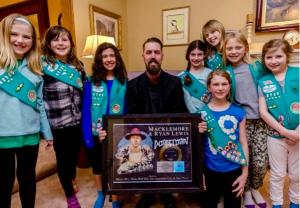 Girl Scout Troop 42725 with Josh Rawlings. Photo credit: Scott Harder.