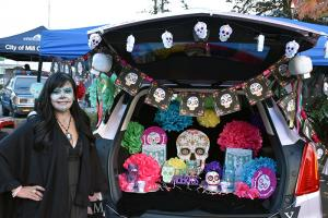 Trunk or Treat features a parking lot full of cars whose trunks will be decorated and filled with candy.