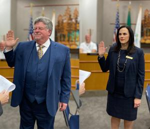 Newly elected Mill Creek City Councilmembers John Steckler and Stephanie Vignal were administered their oaths of office by Mayor Pam Pruitt at the November 26, 2019, city council meeting. Their new terms of office run until December 31, 2021.
