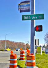 Intersection of 16th Avenue SE and 132nd Street SE. Photo courtesy of Community Transit.