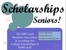 Since its very beginnings, the Mill Creek Business Association has been committed to encouraging and assisting local high school students in their pursuit of higher learning in business or another field with which they would like to pursue a career in business.
