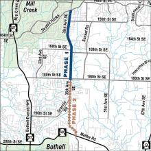 Construction for another major road project affecting traffic on 35th Avenue SE will begin on Monday, June 4, 2018. This is not related to the City of Mill Creek's 35th Avenue SE Reconstruction Project, which should also begin this summer.