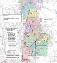 Superintendent's elementary school boundary recommendation. Photo courtesy of Everett Public Schools.