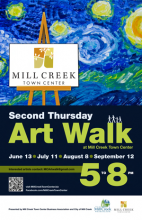 The Mill Creek Town Center Business Association along with the City of Mill Creek's Art & Beautification Board is pleased to announce the artists for the July 11th Mill Creek Town Center Second Thursday Art Walk.