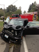 Six people were injured in a two-car collision at Madison Way and Ash Way west of Mill Creek on Friday afternoon, September 13, 2013.