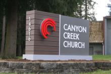 Canyon Creek Church monument sign. Photo courtesy of Canyon Creek Church.