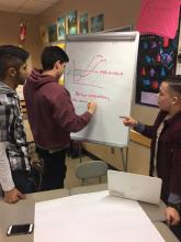 Cascade High School AP Economics students work on their presentation. Photo courtesy of Everett Public Schools.