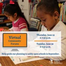 Everett Public Schools is hosting virtual community forums on Thursday, June 25th, and Tuesday, June 30th, to facilitate discussions and hear suggestions about school format and what are the public's biggest concerns for reopening schools in the fall.