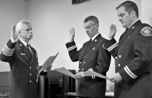 New Fire District 7 training captains being sworn in. Photo courtesy of Fire District 7.