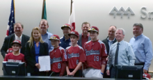 Some Pacific All-Stars team members with a few Snohomish County Council members