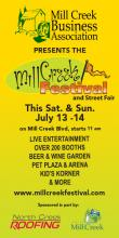 The 2013 Mill Creek Festival will be held on Saturday and Sunday, July 13th and 14th.