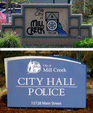 Many Mill Creekers haven't noticed the new signage at City Hall, which was installed in February. Residents and visitors looking for the Mill Creek Police will have a much easier time because of the new signs.