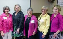 Left to Right: New officers Nancy Hedges, Lyndal Kennedy, Kathe Jo Kern, Connie Hannam and Stephanie Morse planning a great 2018-19 MCGC year! Photo courtesy of Mill Creek Garden Club.