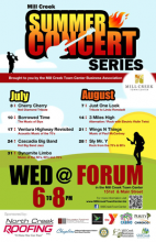 The Mill Creek Town Center Business Association will again host a free weekly summer concert series sponsored by North Creek Roofing and other local businesses and organizations every Wednesday from July 4th – August 29th.