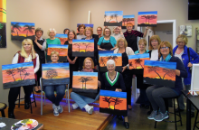 Mill Creek Women's Club members unleashed their inner artist at the Sip Dip-n-Doodle girl's night out in March. Photo courtesy of Pat Huckell.