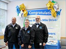 From left: Two million mile driver Ken Sahota, and million mile drivers Jennifer Routley and Rocky Cazares honored for safe driving. Not pictured: Tajinder Mahal and Thomas Rairden. Photo courtesy of Community Transit.