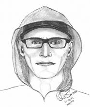 The suspect is described as a white male in his 20's or 30's, around 5-foot 9-inches tall, with brown or light blonde hair, and green eyes. Image courtesy of Mill Creek Police.