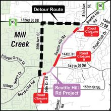 A full Seattle Hill Road closure at 36th Drive SE will occur from 10:00 am on Friday, June 23rd, until 4:30 am on Monday, June 26th.