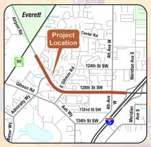 Snohomish County Public Works and Granite Construction will begin paving 1.2 miles of Airport Road/128th Street SE on the evening of Monday, July 13th. The project extends just east of the Home Depot on Airport Rd to the southbound I-5 on-ramp.  Construction will occur each night of the week except Fridays and Saturdays from 8:00 pm to 4:30 am.