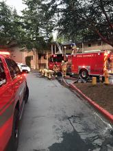 A woman was seriously injured in an apartment fire in the Martha Lake area west of Mill Creek on Thursday night, May 2, 2019. Fire damage left the second-floor apartment uninhabitable and displaced the injured woman and her son, who was away at the time of the fire.