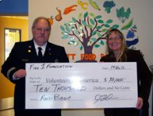 Fire 1 Foundation donates $10,000 to Volunteers of America food bank programs.