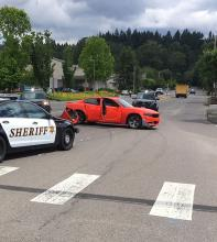 The intersection of Bothell Everett Highway and Maltby Road was closed on Wednesday afternoon, June 19, 2019, when a stolen car collided with another vehicle during a pursuit by Snohomish County Sheriff's deputies. Three suspects were taken into custody and two passengers in the other vehicle had minor injuries.