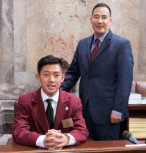 "Jackson High School freshman Juho ""James"" Yoon, 15, served as a page in the Washington State Senate during the week of April 1, 2019. He was sponsored by Senator Steve Hobbs."