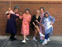 Woodside Kindergarten teachers, Liz Denning, Patty Josephson, Lauren Clements, Stacy Blenman, Dolly Gamlyn and Sylvia Rushton (not pictured) celebrating the 100th day of school.  Photo courtesy of Everett Public Schools.
