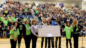 Seahawks legend Marcus Trufant, Sea Gals and their mascot, Blitz, along with representatives from Washington Dairy Council, came and inspired students at Gateway Middle School
