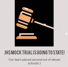 For the third year in a row the Jackson High School Mock Trial team qualified for the state competition to be held March 17th through 21st. The team won second place in the 11-team district tournament on Friday, February 26, 2021, earning this repeat trip to the state competition.